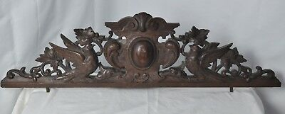 US0091  big Antique french pediment with birds Hand Carved oak