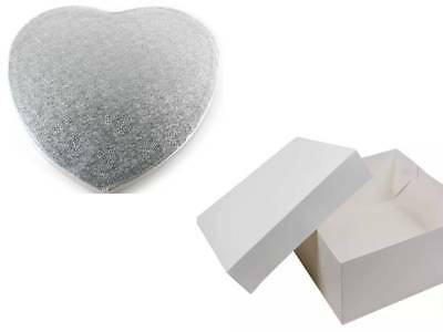 """12"""" inch Heart Shaped Cake Drum and Square Cake Box Valentines"""