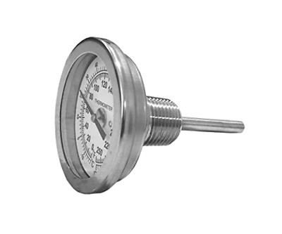 """CNS Gauges 2.25"""" Dial x 2.5"""" Stem Brewing/Distilling Thermometer with 1/2"""" NPT"""