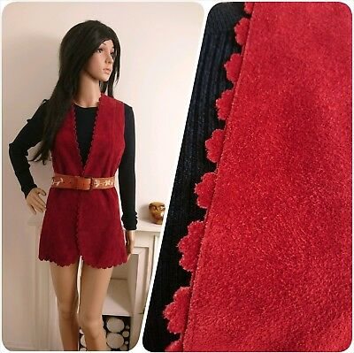 Vintage Red Burgundy Scallop Suede Tunic Waistcoat Mod Boho 60s 70s S 8 10 36