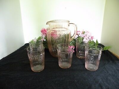 Mayfair Open Rose by Anchor Hocking Pink Water Pitcher & 5 Glasses