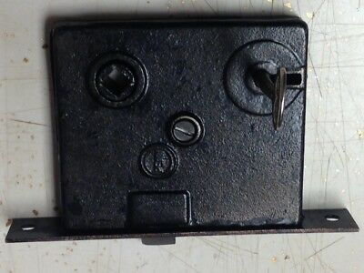 "VINTAGE PENN HARDWARE MORTISE LOCK w/KEY - 5 3/8"" FACEPLATE"
