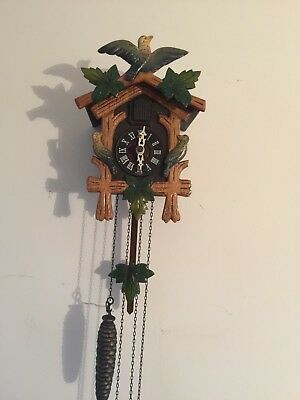 "German Traditional 2 Weights Driven Carved Wood Case Cuckoo Clock GWO 9""L7""W5""D"