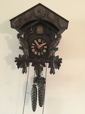 Large impressive black forest wall cuckoo clock. From Germany
