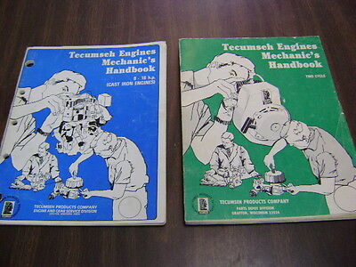 Lot of 2 TECUMSEH Engines Mechanic's Handbooks 8-18 cast iron and two cycle