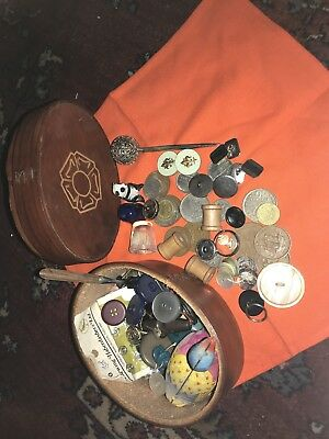 Vintage Job Lot mixed old coins/buttons/vintage leather rose trinket box