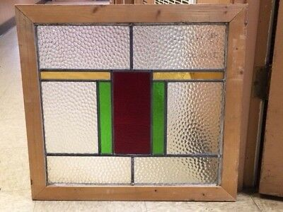 Leaded Stained Glass Window Nice Colors With Scalloped Glass 22-5/8 X 21-1/8