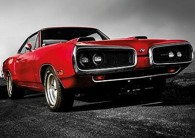 Dodge American Muscle Car Poster Art Print Black & White Card or Canvas