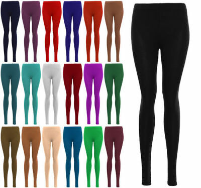 Kids Girls Plain Full Length Stretchy Cotton Leggings Pants 2 To 13 Years