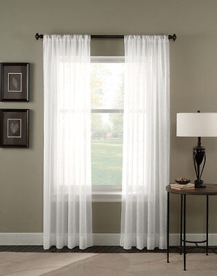 Sheer Voile 2 Piece White Curtain Panel Solid Window Treatment 63