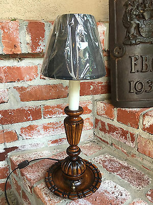 Petite Vintage Antique English Carved Oak Table Desk LAMP Black Shade LIGHTING