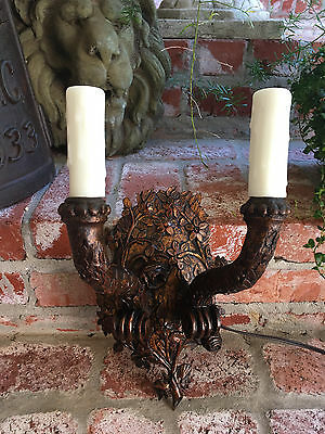 Petite Antique French Carved Gold Gilt Wood Wall Sconce Light Fixture Lighting