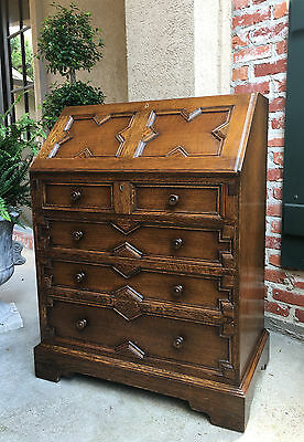 Antique English Carved Tiger Oak Desk Secretary Bureau Drop Front Jacobean