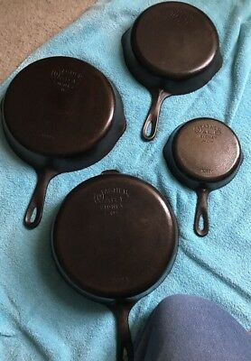 Vintage lot of 4 Wagner Ware Cast Iron Skillet #3 #6 #8 & Deep Chicken Fryer Pan