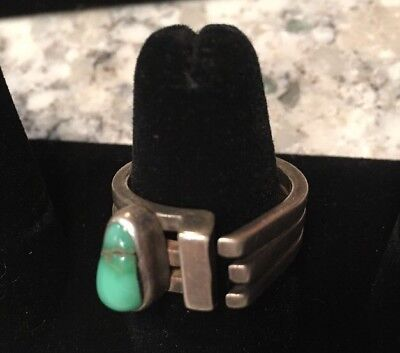 Lilly Barrack Ring Turquoise Modernist Designer Jewelry Size 8.5.