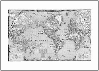 Vintage World Map Poster Art Print Black & White Card or Canvas