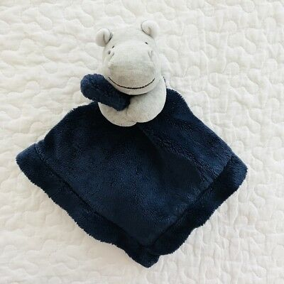 Carters Blue Navy Hippo Gray Plush Baby Toy Lovey Security Blanket Satin Back