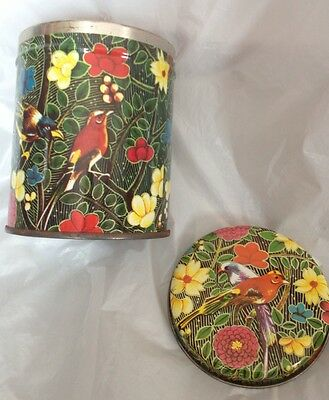 Bird Tin Red Tanager Green Foliage  & Floral Flowers Small Round Canister w/ Lid