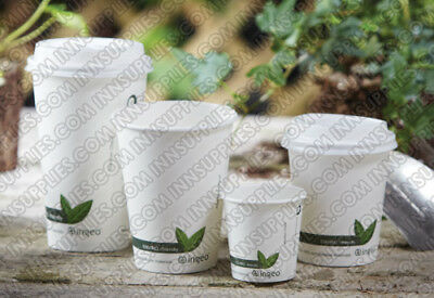 50/1000 Biodegradable Paper Cups Coffee Compostable Lids Disposable(4,8,12,16oz)