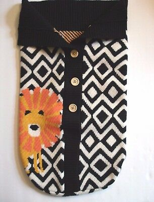 Toby NYGB Black White Knit Baby Infant Soft Snuggle Sack Yellow Lion 0-12 Months