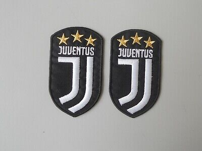 PATCH JUVENTUS N.2 TOPPE RICAMATE BIANCA SU NERO CON STELLE cm 5x8,5 TERMO
