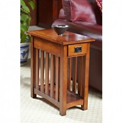 Small Wood End Table Vintage Narrow Solid Storage Side Drawer Shelves Home Stand