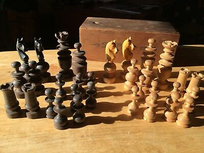 Vintage Wooden Chess Set Hand Carved French Spiral Wood Turned Chessmen with Box