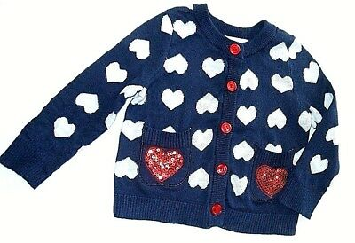 Flapdoodles girl 2TValentine cardigan,100%cotton,red sequins
