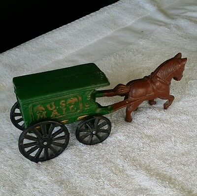 Cast Iron Horse And Us Mail Wagon Green Wagon With Black Wheels