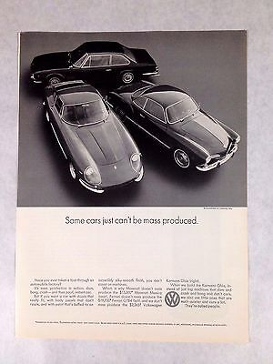 1969 VW Volkswagen Karmann Ghia Print Ad Some Cars Just Can't Be Mass Produced