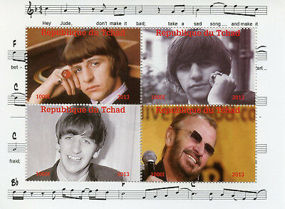 Chad 2013 CTO The Beatles Ringo Starr 4v M/S Music Celebrities Stamps