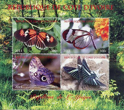 Ivory Coast 2011 CTO Butterflies of Africa 4v M/S Papillons Butterfly Stamps
