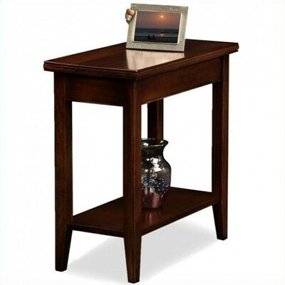 Small Wood End Table Vintage Narrow Solid Accent Storage Side Shelves Home Stand