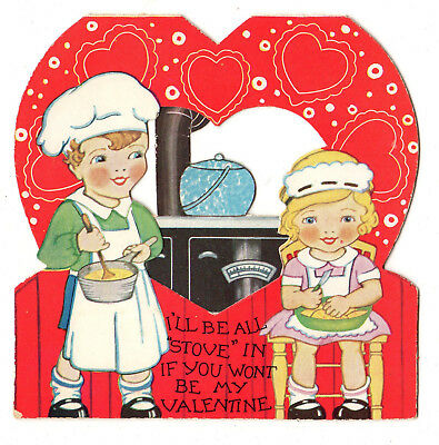 Boy Chef And His Girlfriend Cooking On A Cast Iron Stove / Vtg Unused Valentine