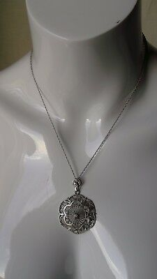 925 Sterling Silver  Decorative Detail Unusual Pendant Chain Necklace