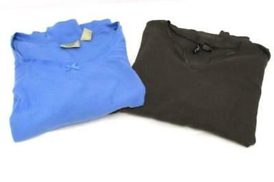 Lot of 2 Blue Brown 3/4 Sleeve Plus Size Tops Women's 3X Jason Maxwell Route 66