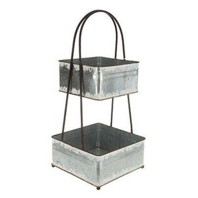 Square 2-Tier Galvanized Metal Tray,  Urban Farmhouse, Free Shipping here !