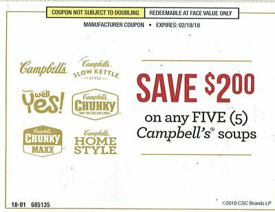 25 Coupons-$2 Off 5 Campbell's Soups (Slow Kettle,Homestyle,Chunky,Well Yes,Maxx