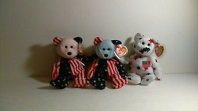 Lot of 3 Ty Beanie Baby PATRIOTIC BEARS - Spangle in Red, White and Blue Faces
