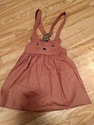 BNWT Next Girls Ginger Bunny Teddy Pinafore Dress Outfit 5-6 Years