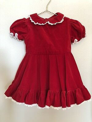 "Vintage Red valentines Girls Dress/ VTG girl ""I love you"" Dress 4T"