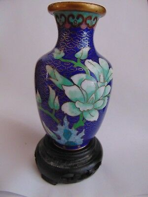 "Cobalt Blue Chinese Cloisonne vase on Stand Miniture Size 5 1/8"" !!No  Reserve!!"