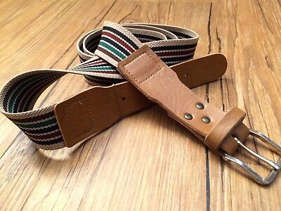 Color Striped Vintage Stretch Belt Vintage Leather Elastic Men's Women's Unisex