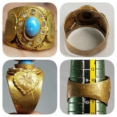 Stunning Antique Medieval Ring With Turquoise Stone    # A