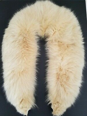 """STUNNING Creamy Off-White Fox Fur Collar FLUFFY Vintage 41"""" long EXCELLENT"""