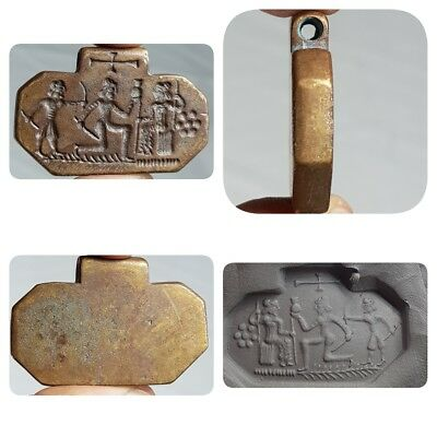 Royal Majestic Medieval Old Beautiful Seal Bronze Amulet    # A