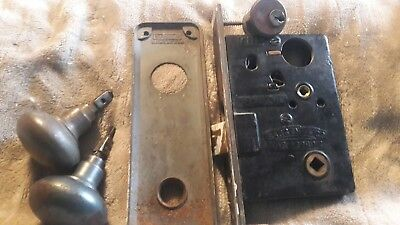 "VINTAGE SARGENT ENTRY MORTISE LOCK w/CYLINDER, KEY, 7 3/4"" FACEPLATE (9561)"