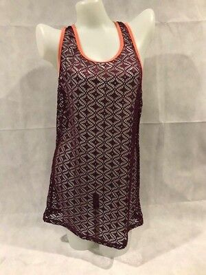 87459d6f93b80 MIKEN Beach Swim Vacation Cruise Cover-up Stretch Lace Tank Dress WINE NWT  Small