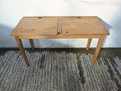 old beech/ old pine double school desk with ink wells graffitti. Original