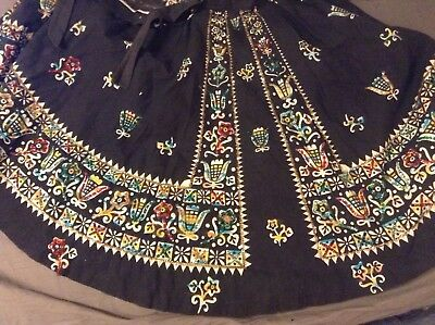 Vintage 1950's Mocambo Aztec Mexican Floral Colored Sequin Skirt Size 12